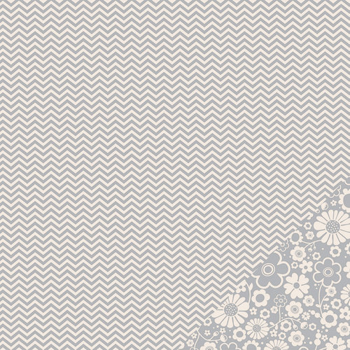 Pebbles - Basics Collection - 12 x 12 Double Sided Paper - Ash Chevron