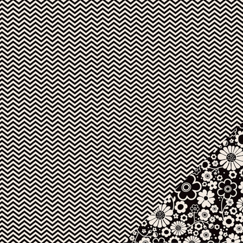 Pebbles - Basics Collection - 12 x 12 Double Sided Paper - Black Chevron