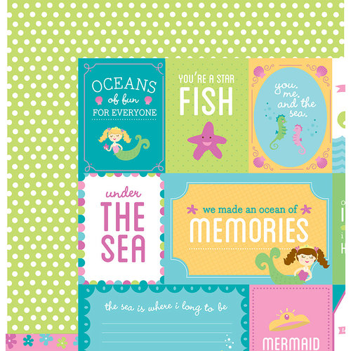 American Crafts - Pebbles - Party with Amy Locurto - 12 x 12 Double Sided Paper - Mermaid
