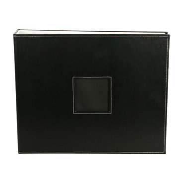 American Crafts - Leather Album - 12x12 - D-Ring - Black