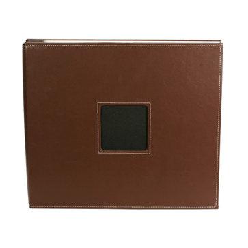 American Crafts - Leather Album - 12x12 - Post Bound - Brown