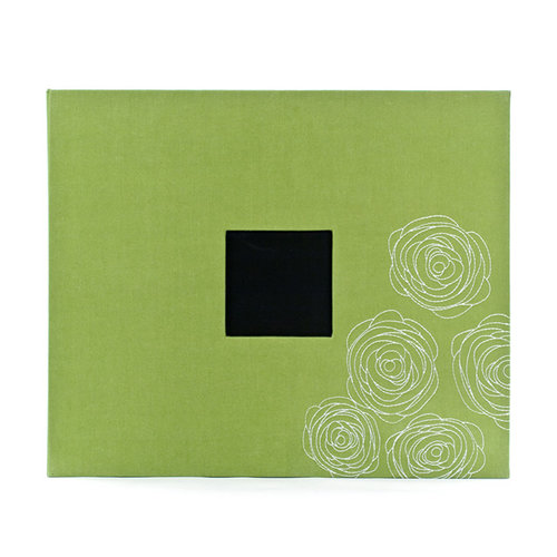 American Crafts - Patterned Cloth Album - 12 x 12 D-Ring - Leaf with Embroidered Roses