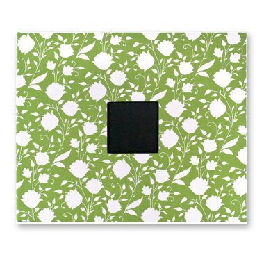 American Crafts - Patterned Cloth Album - 12 x 12 D-Ring - Leaf with White Flowers