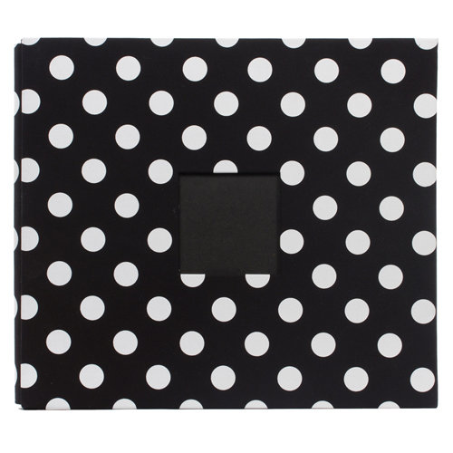 American Crafts - Patterned Album - 12 x 12 - Post Bound - Black with White Polka Dots