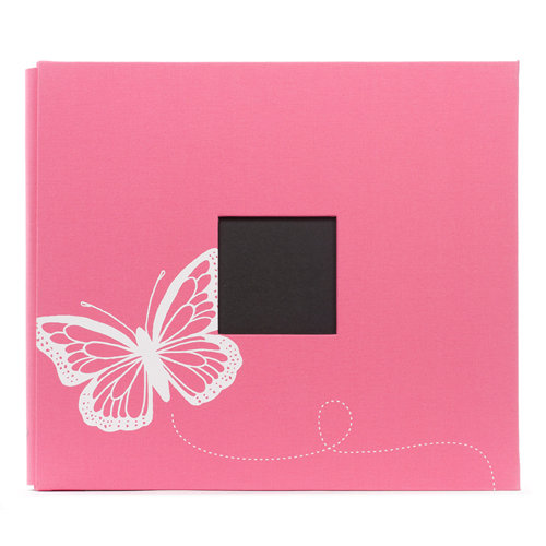 American Crafts - Screenprinted Album - 12 x 12 - Post Bound - Pink Butterfly