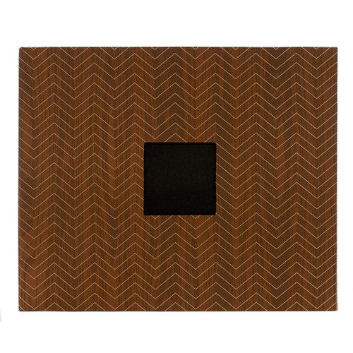 American Crafts - Patterned Album - 12 x 12 D-Ring - Woodgrain Chevron 2