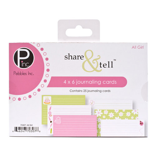 American Crafts - Pebbles - Share and Tell Collection - Journaling Cards - All Girl