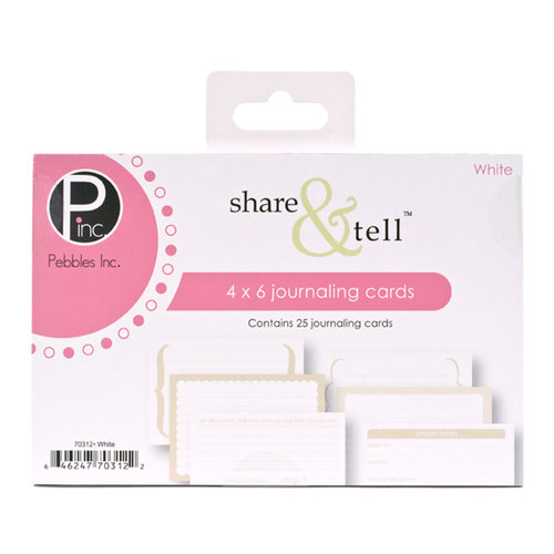American Crafts - Pebbles - Share and Tell Collection - Journaling Cards - White