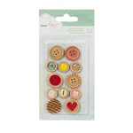 American Crafts - Dear Lizzy Neapolitan Collection - Wooden Buttons with Epoxy Accents