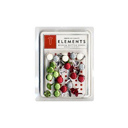 American Crafts - Glitter Brads - Christmas - Merrymint - Medium, BRAND NEW
