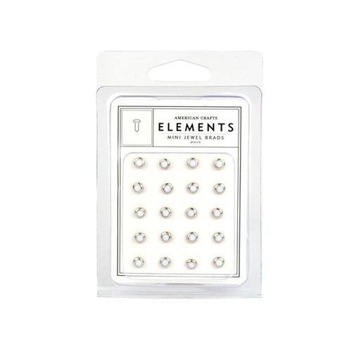 American Crafts - Jewel Brads - White - Mini, CLEARANCE