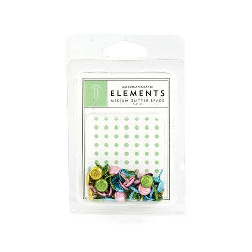 American Crafts - Glitter Brads - Pastels - Medium, CLEARANCE