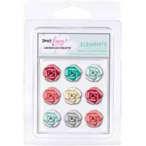 American Crafts - Dear Lizzy Christmas Collection - Metal Brads - Rose with Pearl Accents, CLEARANCE
