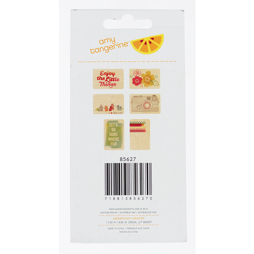 American Crafts - Amy Tangerine Collection - Yes, Please - Bits - Wood Veneer Tags - Smile