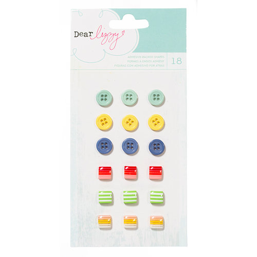 American Crafts - Dear Lizzy Lucky Charm Collection - Adhesive Buttons and Shapes