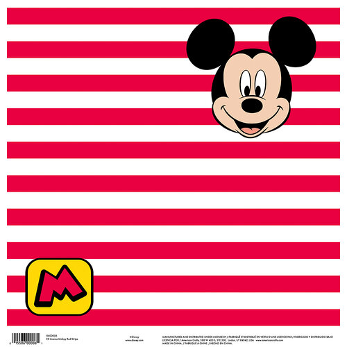 EK Success - Disney Collection - 12 x 12 Single Sided Paper - Mickey Red Stripe