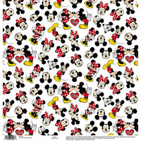 EK Success - Disney Collection - 12 x 12 Single Sided Paper - Mickey Minnie White