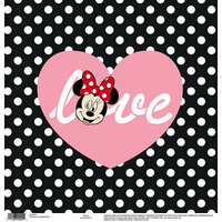 EK Success - Disney Collection - 12 x 12 Single Sided Paper - Love Black and White Dots