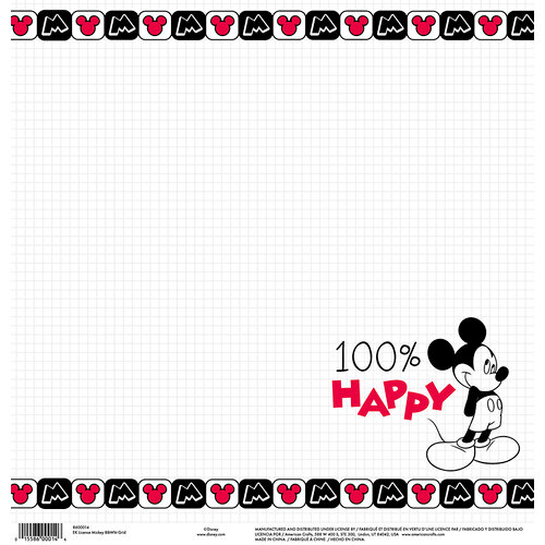 EK Success - Disney Collection - 12 x 12 Single Sided Paper - Mickey Black and White Grid