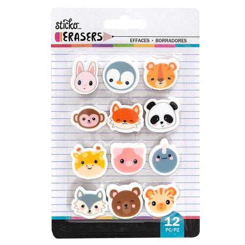 EK Success - Sticko - Erasers - Animal Head Small Erasers - 12 Pack