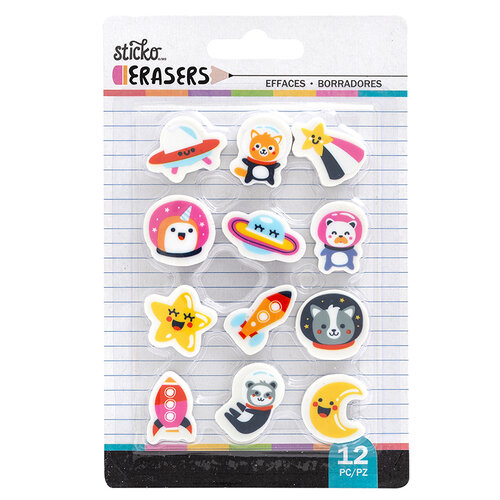 EK Success - Sticko - Erasers - Space Small Erasers - 12 Pack
