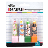 EK Success - Sticko - Erasers - Animal Head Lipstick Erasers - 4 Pack