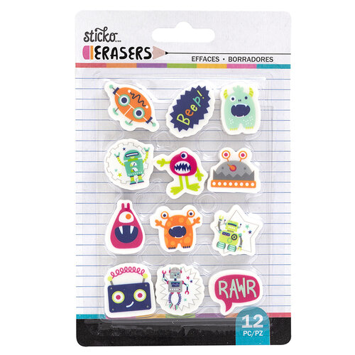 EK Success - Sticko - Erasers - Robots and Monsters Small Erasers - 12 Pack