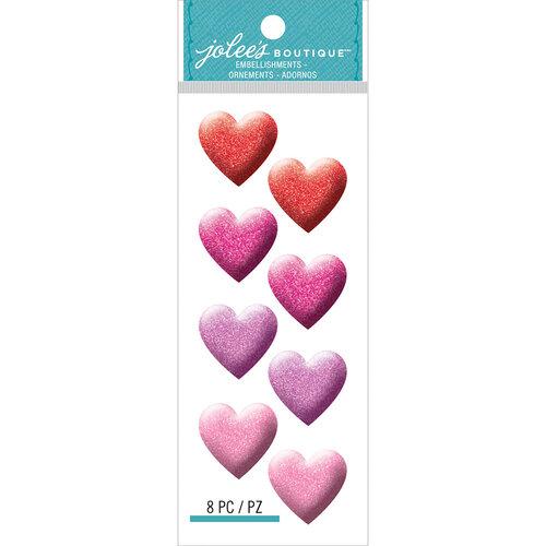 EK Success - Jolee's Boutique - 3 Dimensional Stickers - Glitter Heart Repeats