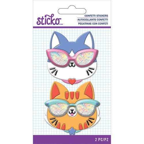 EK Success - Sticko - Confetti Stickers - Cat Glasses
