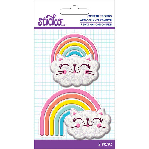EK Success - Sticko - Confetti Stickers - Cat Rainbow