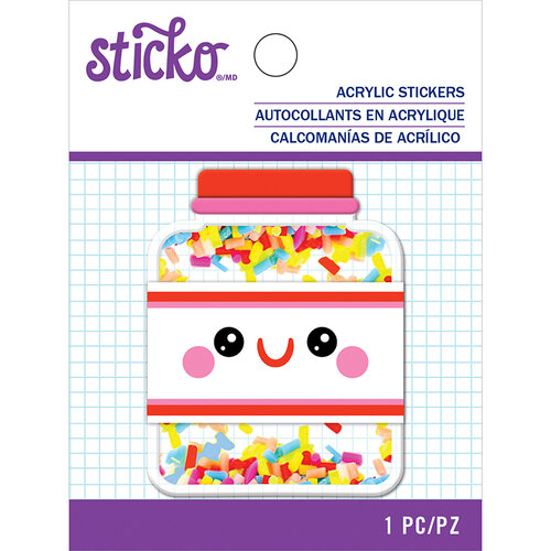 EK Success - Sticko - Acrylic Stickers - Sprinkles Jar with Glitter Accents
