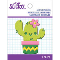EK Success - Sticko - Acrylic Stickers - Friendly Cactus with Glitter Accents