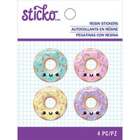 EK Success - Sticko - Resin Stickers - Donut with Glitter Accents