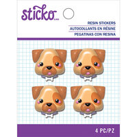 EK Success - Sticko - Resin Stickers - Dog Face with Glitter Accents