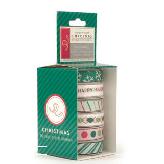 American Crafts - Occasions Boxed Ribbon - Christmas Collection - Kris Kringle, CLEARANCE