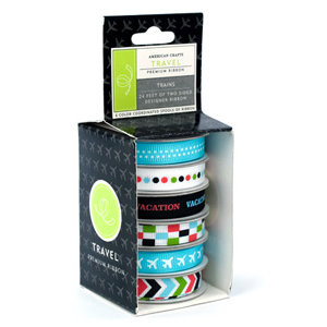 American Crafts - Boxed Ribbon - Travel - Trains, CLEARANCE