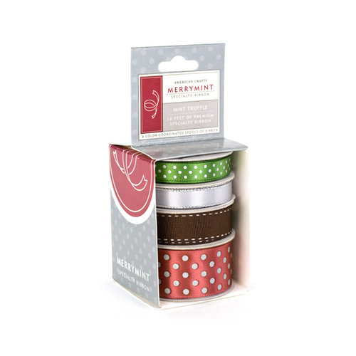 American Crafts - Merrymint Collection - Christmas - Boxed Ribbon - Mint Truffle, CLEARANCE