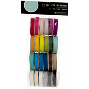 American Crafts - Ribbon Value Pack - 24 Spools - Solid Satin - Color Set 1
