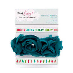American Crafts - Dear Lizzy Christmas Collection - Ribbon with Gem Accents - Spirit, CLEARANCE