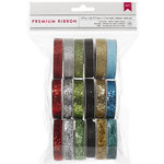American Crafts - Christmas - Ribbon Value Pack - Christmas Glitter - 18 Spools