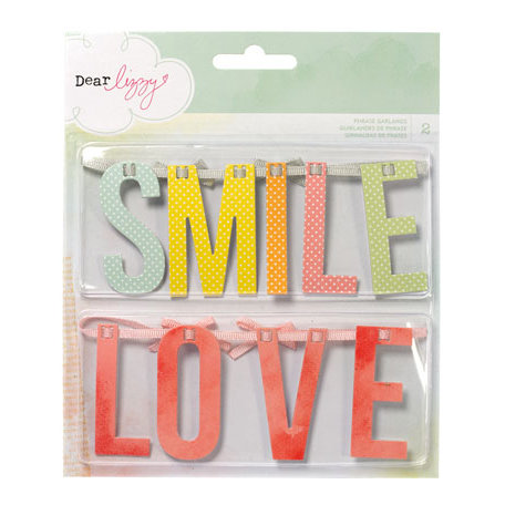 American Crafts - Dear Lizzy Neapolitan Collection - Phrase Garlands with Ribbon