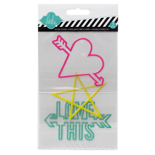 Becky Higgins - Project Life - Heidi Swapp Edition Collection - Epoxy Stickers - Outline - Words