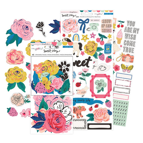 Crate Paper - Sweet Story Collection - Ephemera and Cardstock Stickers Bundle