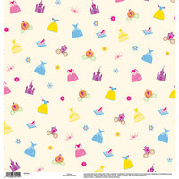 EK Success - Disney Collection - 12 x 12 Single Sided Paper with Glitter Accents - Princess Icon