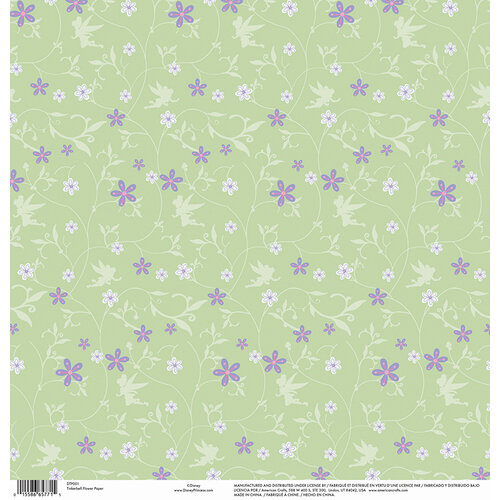 EK Success - Disney Collection - 12 x 12 Single Sided Paper with Gloss Accents - Tinkerbell Flower