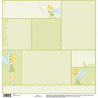 EK Success - Disney Collection - 12 x 12 Single Sided Paper with Embossed Accents - Tinkerbell Green Block