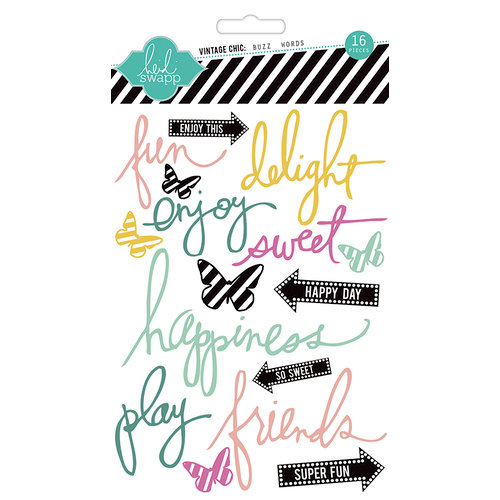 Heidi Swapp - Vintage Chic Collection - Epoxy Stickers - Buzz Words
