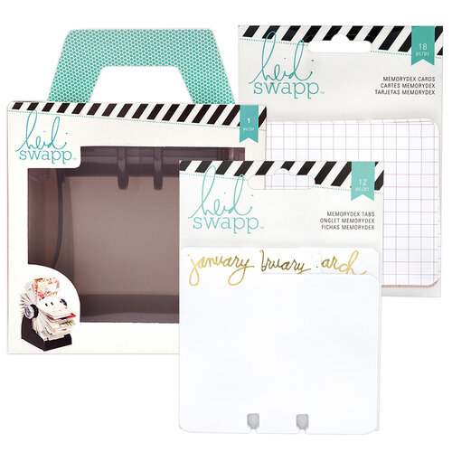 Heidi Swapp - Memorydex - Holder - Rolodex Spinner - Monthly and Patterned Cards Bundle