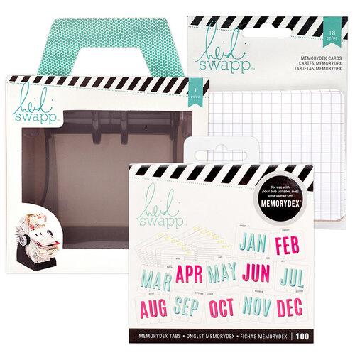 Heidi Swapp - Memorydex - Holder - Rolodex Spinner - Calendar and Patterned Cards Bundle