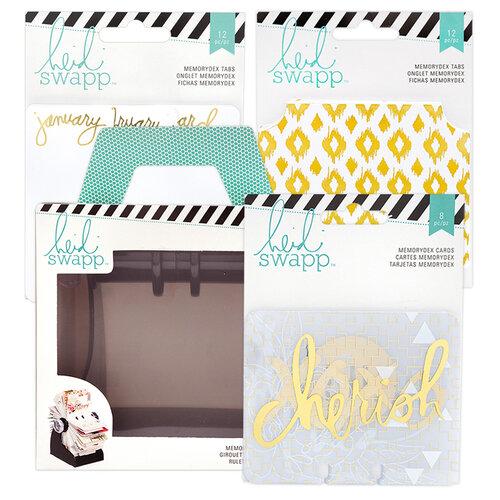 Heidi Swapp - Memorydex - Holder - Rolodex Spinner - Monthly Gold Foil Cards Bundle